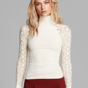 Free People Lace Long Sleeve Turtle Neck XS/S